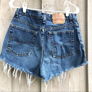 Pair of Size 12 Long High Waisted Jean Levi Shorts